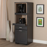 Baxton Studio Fabian Modern Dark Grey and Oak Brown Kitchen Cabinet