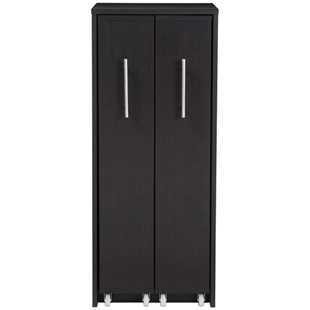 Lindo Dark Brown Wood Bookcase with Two Pulled-out Doors Shelving Cabinet