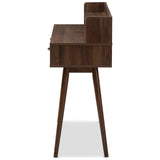 Baxton Studio Disa Mid-Century Modern Walnut Brown Finished 2-Drawer Desk