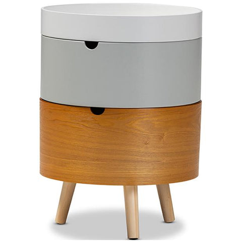 Baxton Studio Elison Mid-Century Modern Multi Color 3-Tier Wood Nightstand