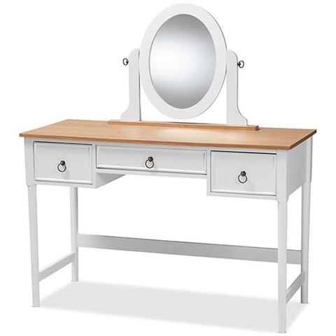 Baxton Studio Sylvie White 3-Drawer Wood Vanity Table with Mirror