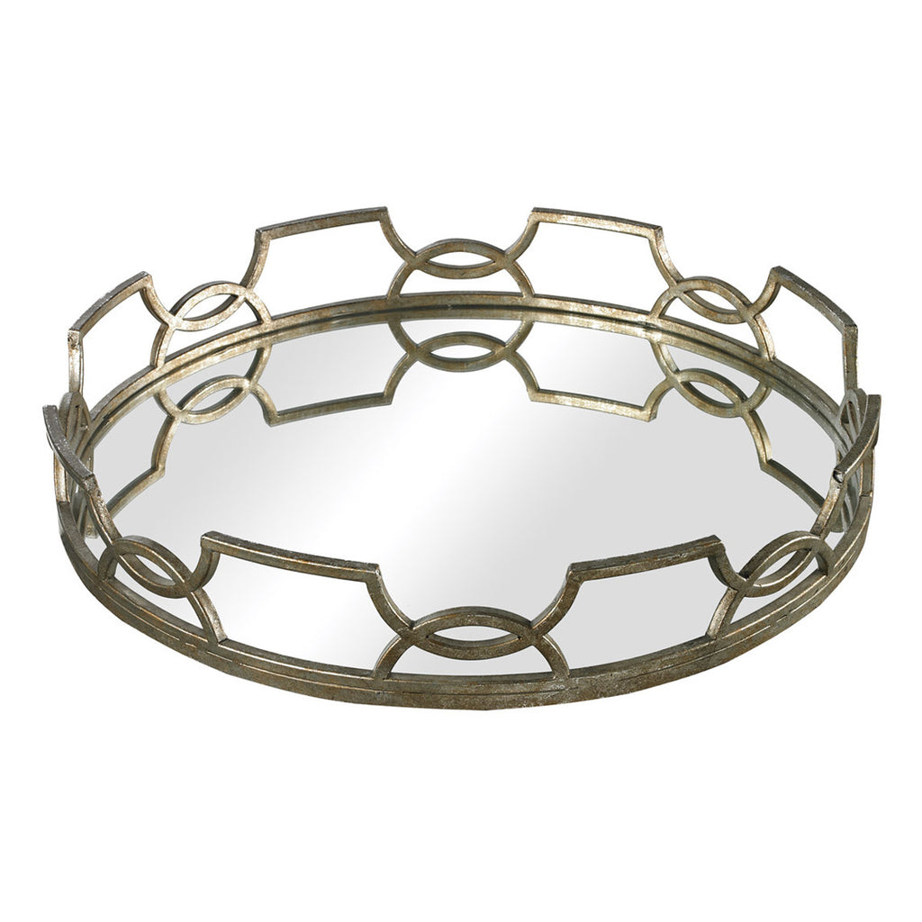 Iron Scroll Mirrored Tray in Antique Silver