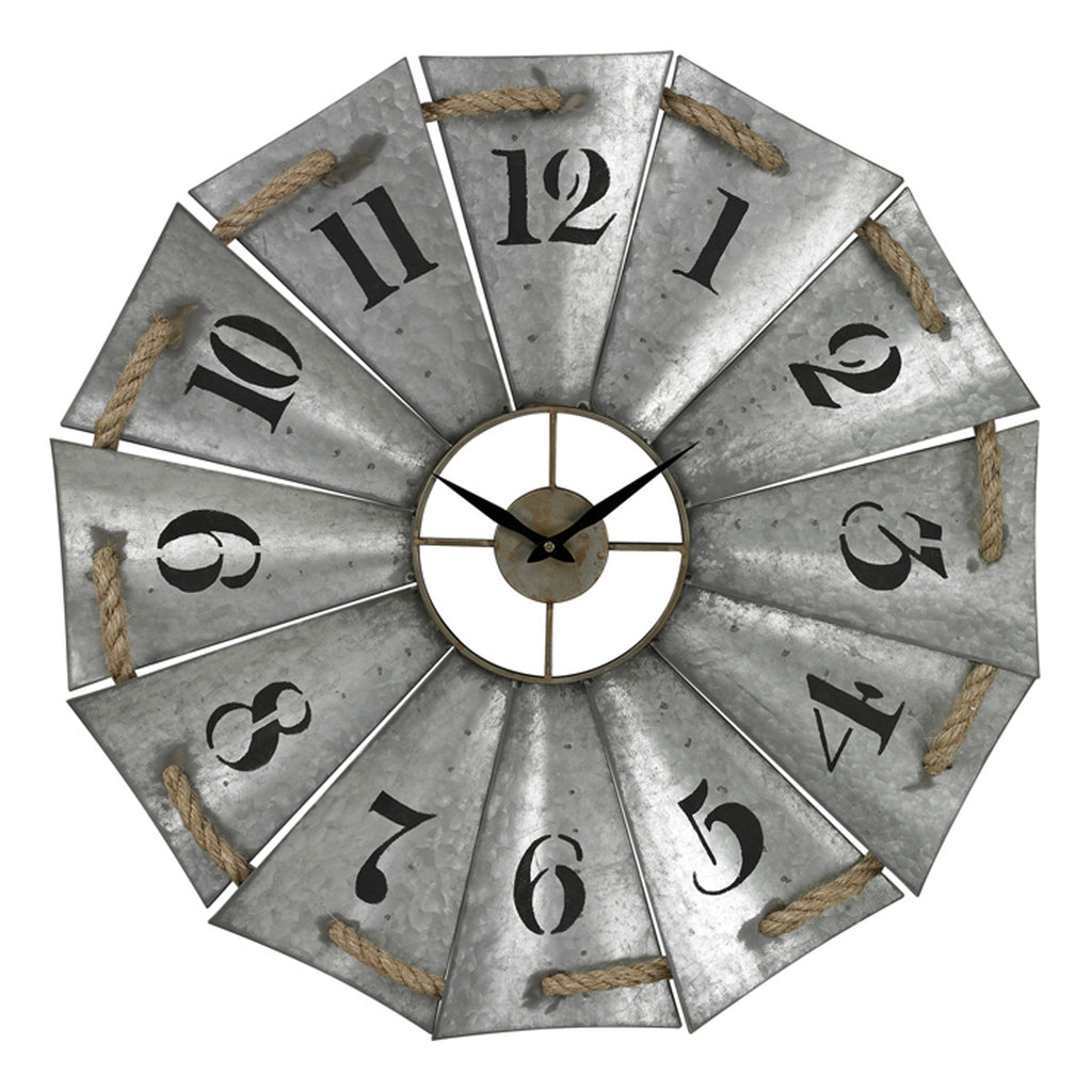 Clock in Galvanised Metal and Natural Rope