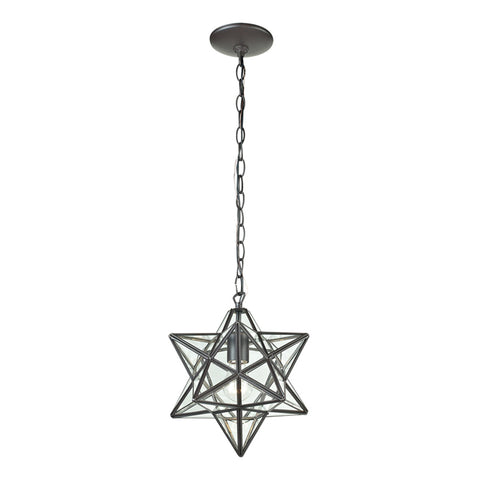 Star 1 Light Pendant in Clear and Ob