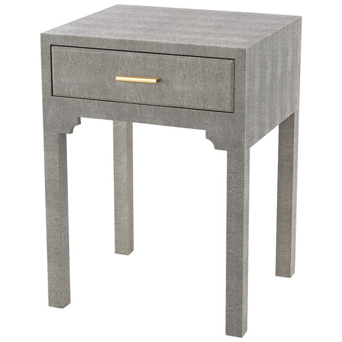 Sands Point Accent Side Table with Drawer in Gray Faux Shagren