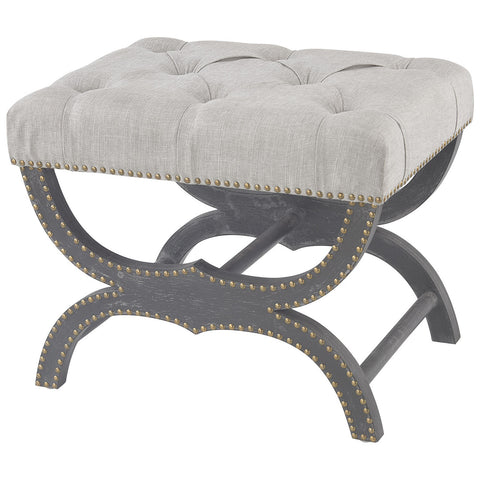 Arnaz Bench in Aged Black and Gray Linen