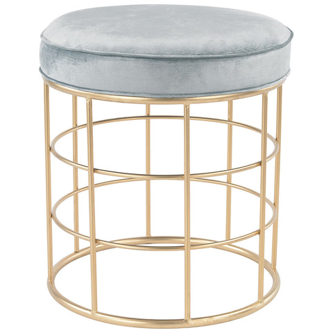 Beverly Glen Accent Stool in Gold and Duck Egg Blue