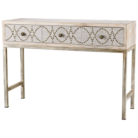Albiera 3-Drawer Desk in Natural Linen and Driftwood Gray