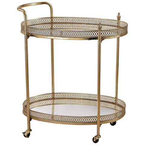 Banded Oval Bar Cart
