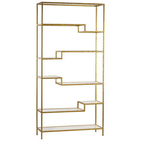 Gold and Mirrored Shelving Unit