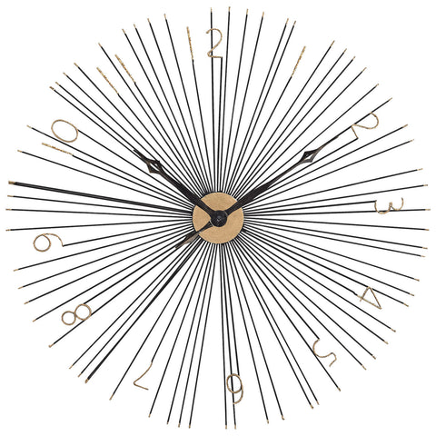 Shockfront Black and Gold Metal Wall Clock