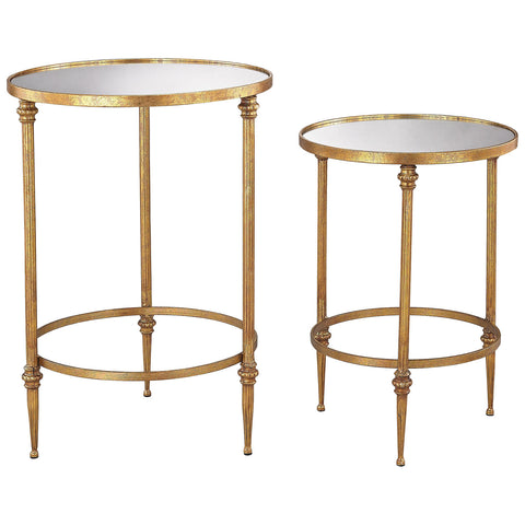 Alcazar Accent Tables in Antique Gold and Mirror, Set of 2