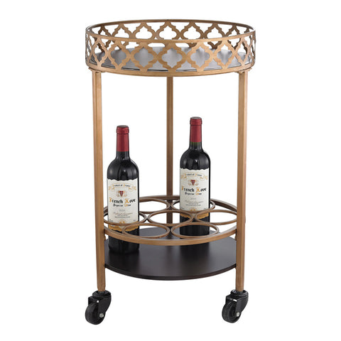 Circular Quatrefoil Bar Cart