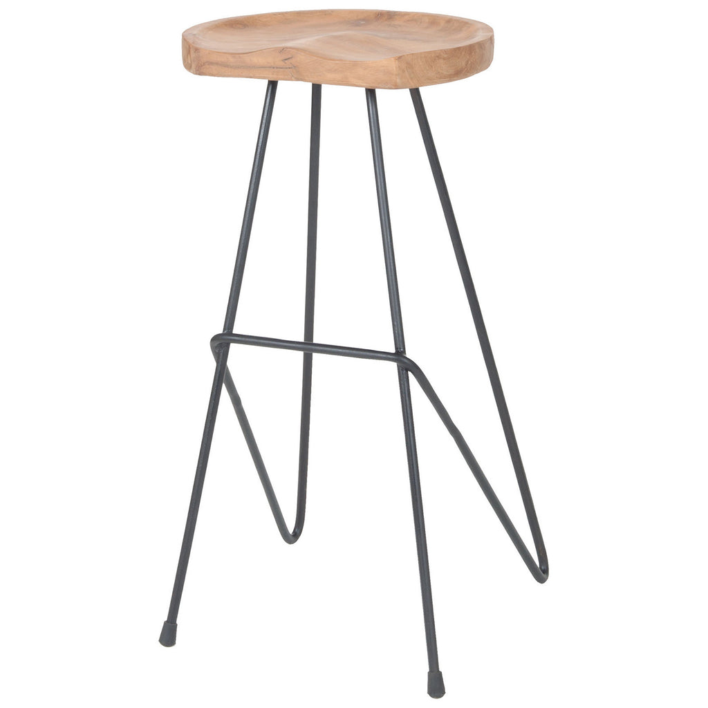Backon Stool in Natural Teak and Bronze Iron