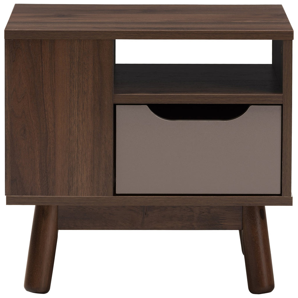 Baxton Studio Britta Walnut Brown and Grey Two-Tone Finished Wood Nightstand