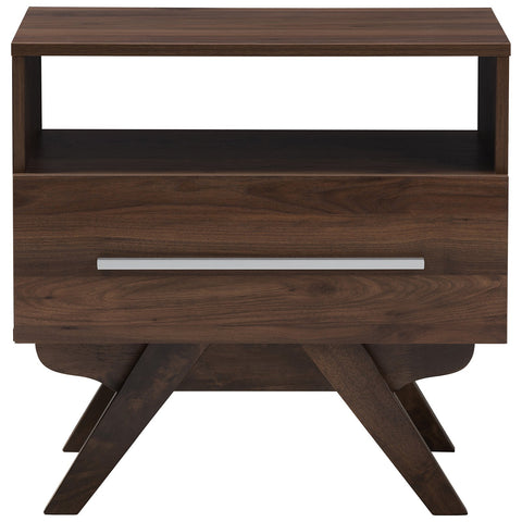 Baxton Studio Ashfield Mid-Century Modern Walnut Brown Finished Wood Nightstand
