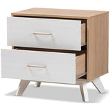 Baxton Studio Helena 2-Drawer Nightstand