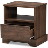 Baxton Studio Burnwood Walnut Brown Finished Wood 1-Drawer Nightstand