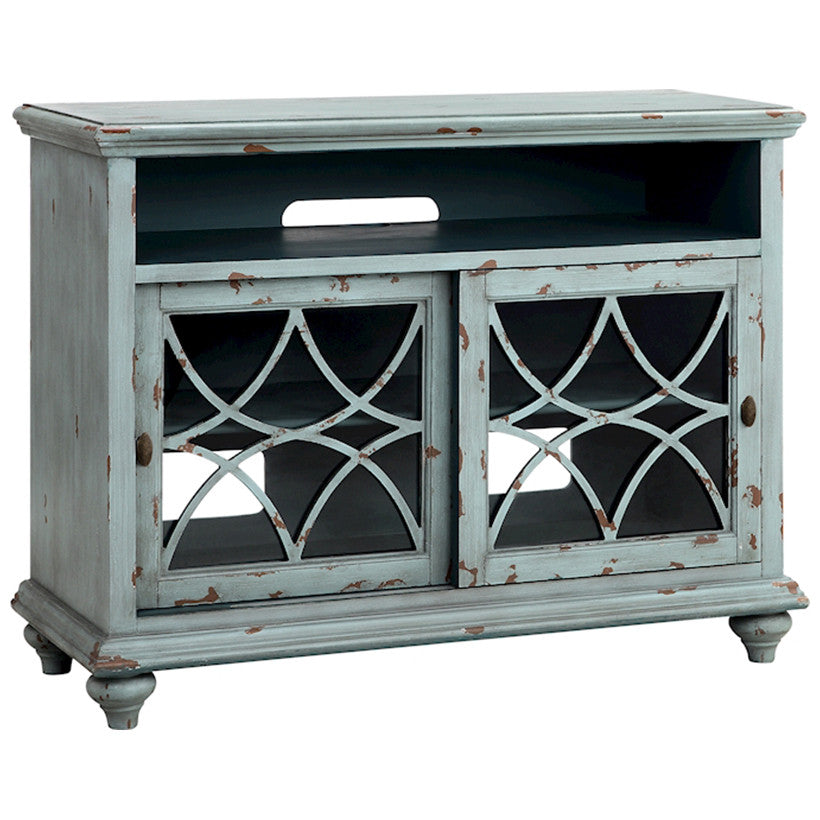 "Bethania 44"" Media Console in Distressed Pale Blue-Gray"