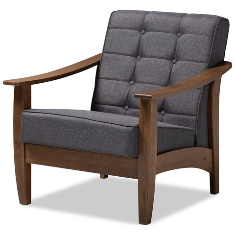 Baxton Studio Larsen Gray Fabric Upholstered Walnut Wood Lounge Chair