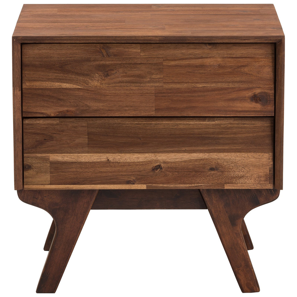 Baxton Studio Sierra Mid-Century Modern Brown Wood 2-Drawer Nightstand