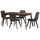Baxton Studio Sugar Fabric Upholstered Walnut Wood 5-Piece Dining Set