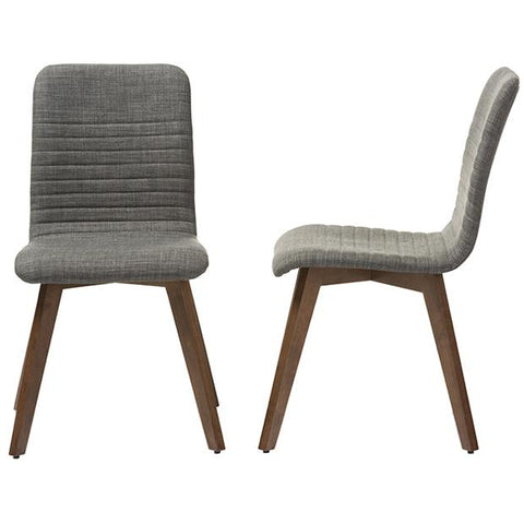 Sugar Fabric Upholstered Dining Walnut Wood Chair, Set of 2