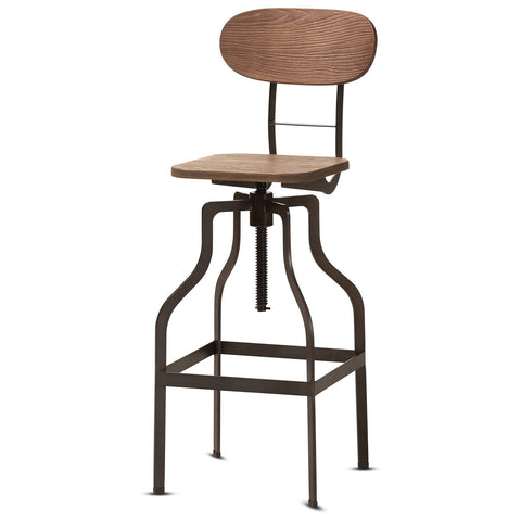 Baxton Studio Varek Wood and Rust-Steel Adjustable Swivel Bar Stool