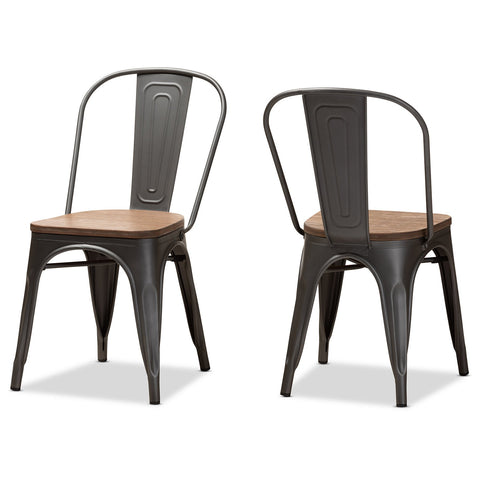 Baxton Studio Henri Gun Metal-Steel Stackable Dining Chair Set of 2