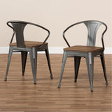Baxton Studio Henri Tolix-Inspired Bamboo Steel Stackable Side Chair Set of 2