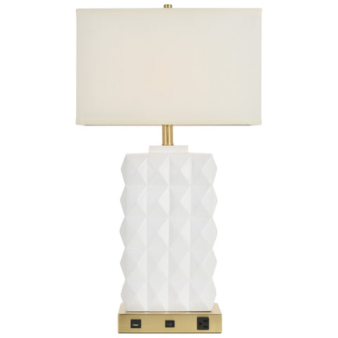 Brio Collection 1-Light Brushed Brass And White Modern Table Lamp