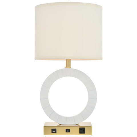 Brio Collection 1-Light Modern Brushed Brass And White Table Lamp