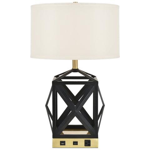 Brio Collection 1-Light Black Finish Table Lamp