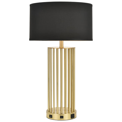 Brio Collection 1-Light Brushed Brass Modern Table Lamp