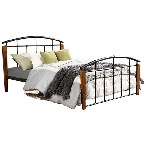 Optimus Vintage Industrial Black Metal Queen Size Platform Bed