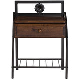 Jevenci Vintage Industrial Black Metal Nightstand
