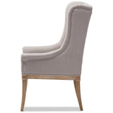 Baxton Studio Cedulie Beige Fabric Whitewashed Oak Lounge Chair