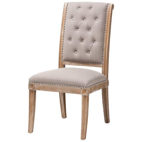 Baxton Studio Charmant Beige Fabric Weathered Oak Wood Dining Chair