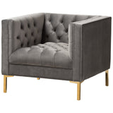 Baxton Studio Zanetta Luxe and Glamour Velvet Gold Finished Lounge Chair