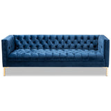 Baxton Studio Zanetta Glam and Luxe Velvet Upholstered Gold Finished Sofa