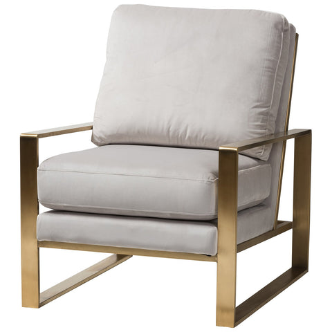 Baxton Studio Mietta Luxe and Glamour Grey Velvet Gold Finished Lounge Chair