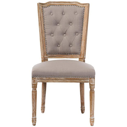 Estelle Weathered Oak Beige Fabric Button-tufted Upholstered Dining Chair