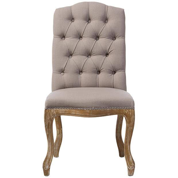 Hudson Weathered Oak Beige Fabric Button-tufted Upholstered Dining Chair