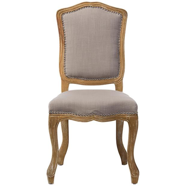 Chateauneuf Weathered Oak Beige Fabric Upholstered Dining Side Chair
