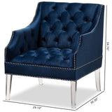 Baxton Studio Silvana Navy Velvet Fabric Upholstered Lounge Chair
