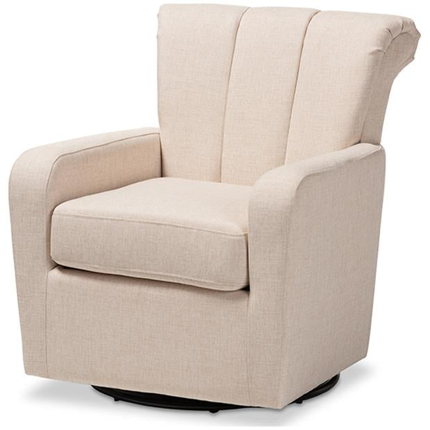Baxton Studio Rayner Fabric Upholstered Swivel Chair