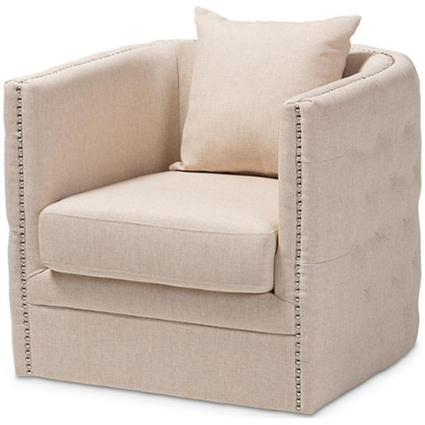 Baxton Studio Micah Fabric Upholstered Tufted Swivel Chair