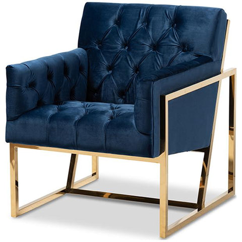 Baxton Studio Milano Velvet Fabric Upholstered Gold Lounge Chair