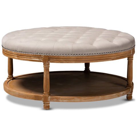 Baxton Studio Ambroise Beige Linen Button-Tufted Cocktail Ottoman with Shelf