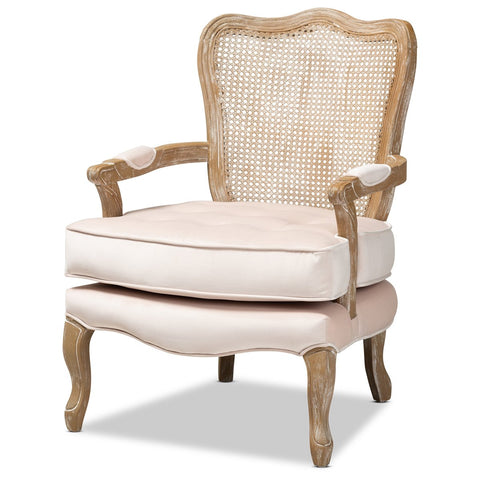 Baxton Studio Vallea Velvet White-Washed Oak Wood Armchair